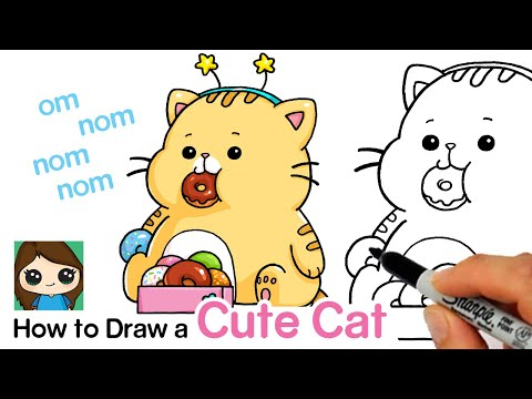 How to Draw a Cute Cat Eating Donuts