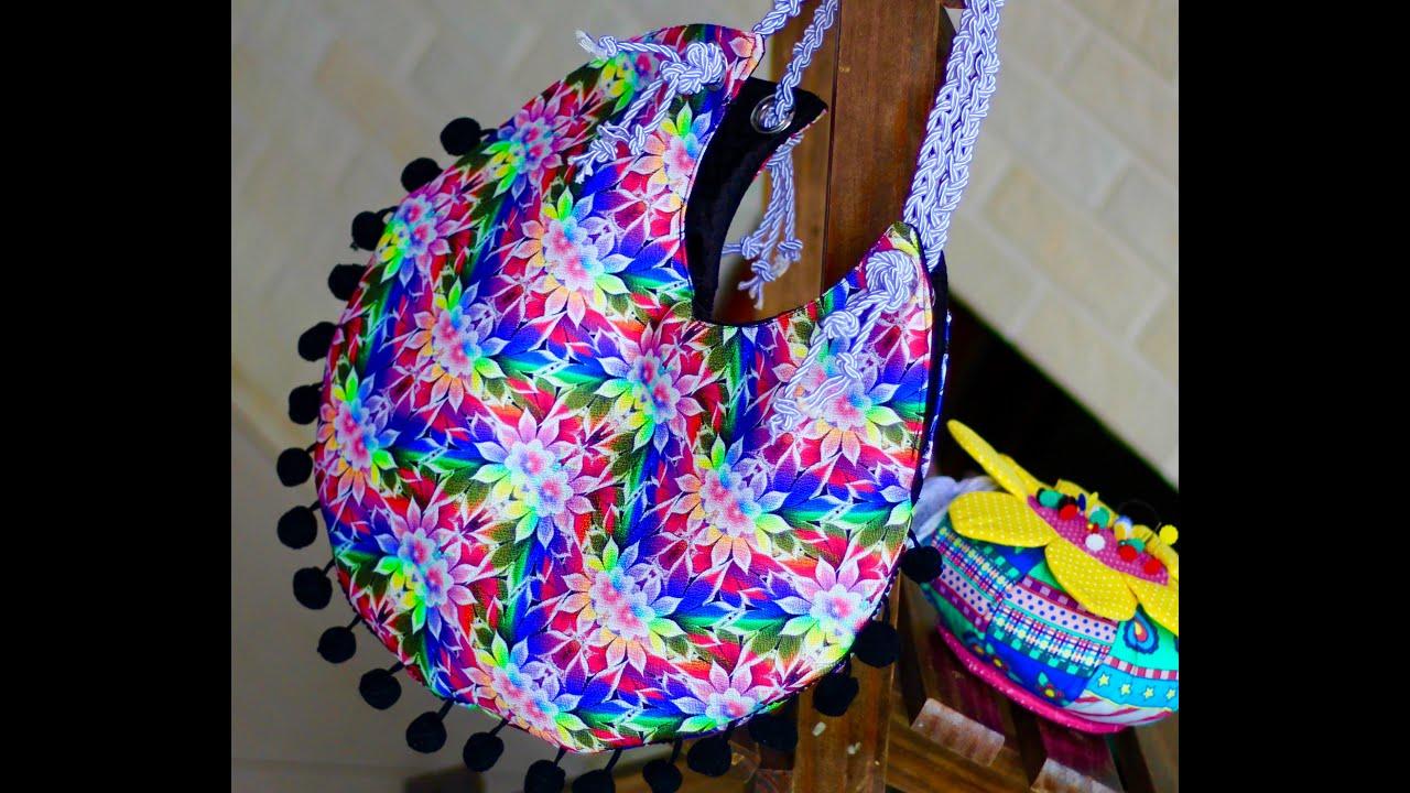Bolsa De Tecido Hippie : Bolsa redonda de tecido