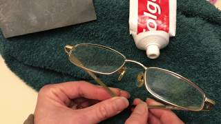 removing SCRATCHES from your glasses using toothpaste