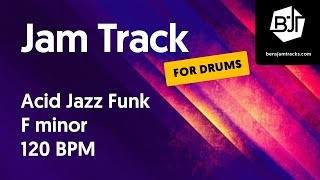 Acid Jazz Funk Jam Track in F minor 120 BPM (for drums)