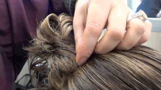 UPDO for shorter hair; WITH TWO PONY TAILS AND BARREL CURLS; FULL INSTRUCTION