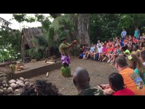 Coconut shucking Hawaiian style