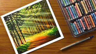 Easy forest lights draẁing with oil pastel / How to draw easy forest Landscape -step by step