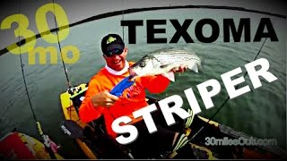 30milesOut.com ~ LAKE TEXOMA STRIPER kayak fishing