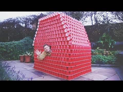 I Built a Fort out of Red Cups & Spent the Night... It Was Funny AF (Sleep in a Cup House Challenge)