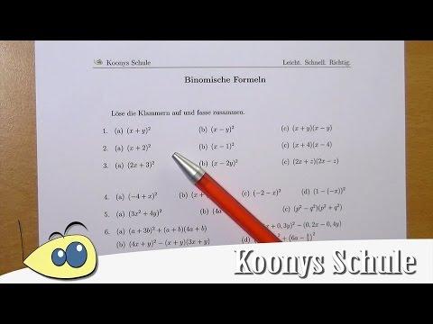 Binomische Formeln von einfach bis schwer - Übersicht zum ...