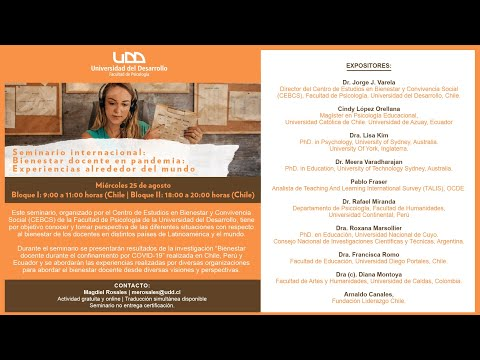 Seminario Internacional   Bienestar docente en pandemia: Experiencias alrededor del mundo - Bloque 2
