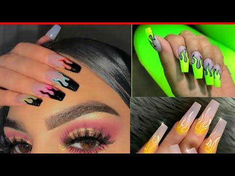 """Trendy FLAME NAIL ART DESINGS """"!Beautiful Flame nails 2019 Famous Nail art Desings,#Flame nails💅 thumbnail"""