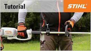Starting and stopping a STIHL electric long-reach hedge trimmer