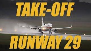 Surinam 729 Taking off Runway 29 wetrunway