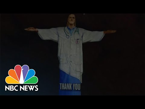 Christ The Redeemer Statue Lit Up in Tribute To Health Care Workers Battling COVID-19 | NBC News NOW