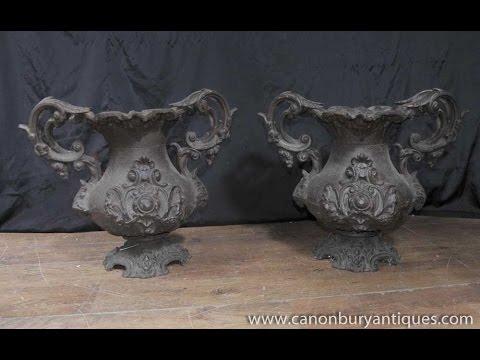 Antique French Art Nouveau Cast Iron Garden Urns