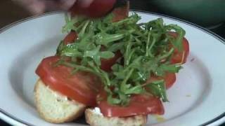 Savory Goat Cheese Tomato Arugula Baguette
