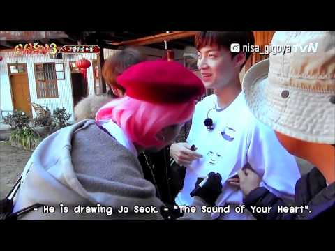 Ahn Jaehyun wearing an art made by Song Mino [Eng sub] New Journey to the west3 - Ep.8 cut