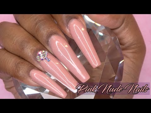 Coffin Shaped Pink Nude Acrylic Nails