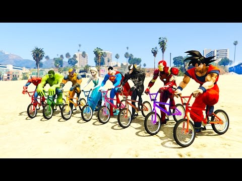 Thumbnail: COLOR BMX and JETSKI JUMP! w/ superheroes for kids and babies + FUN Learn colors!