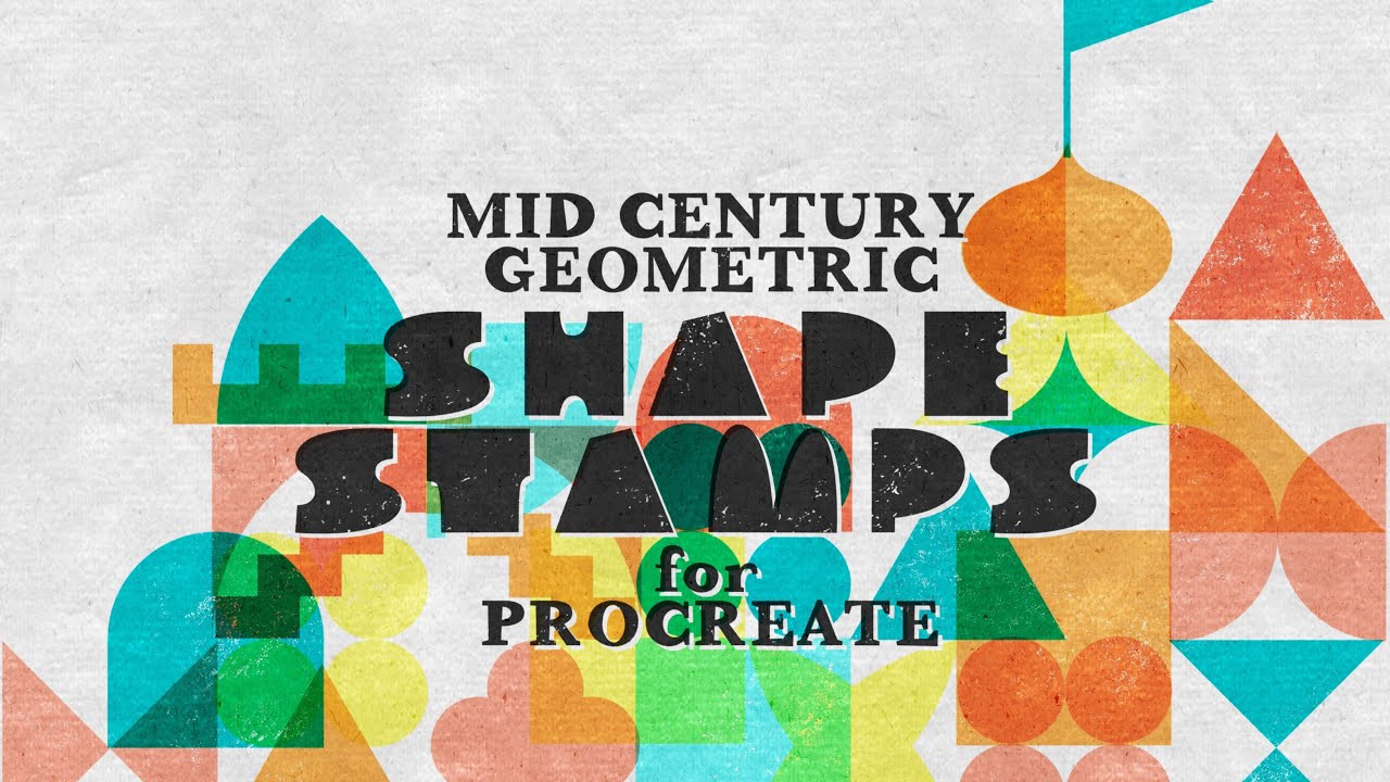 Midcentury Geometric Shape Stamps For Procreate