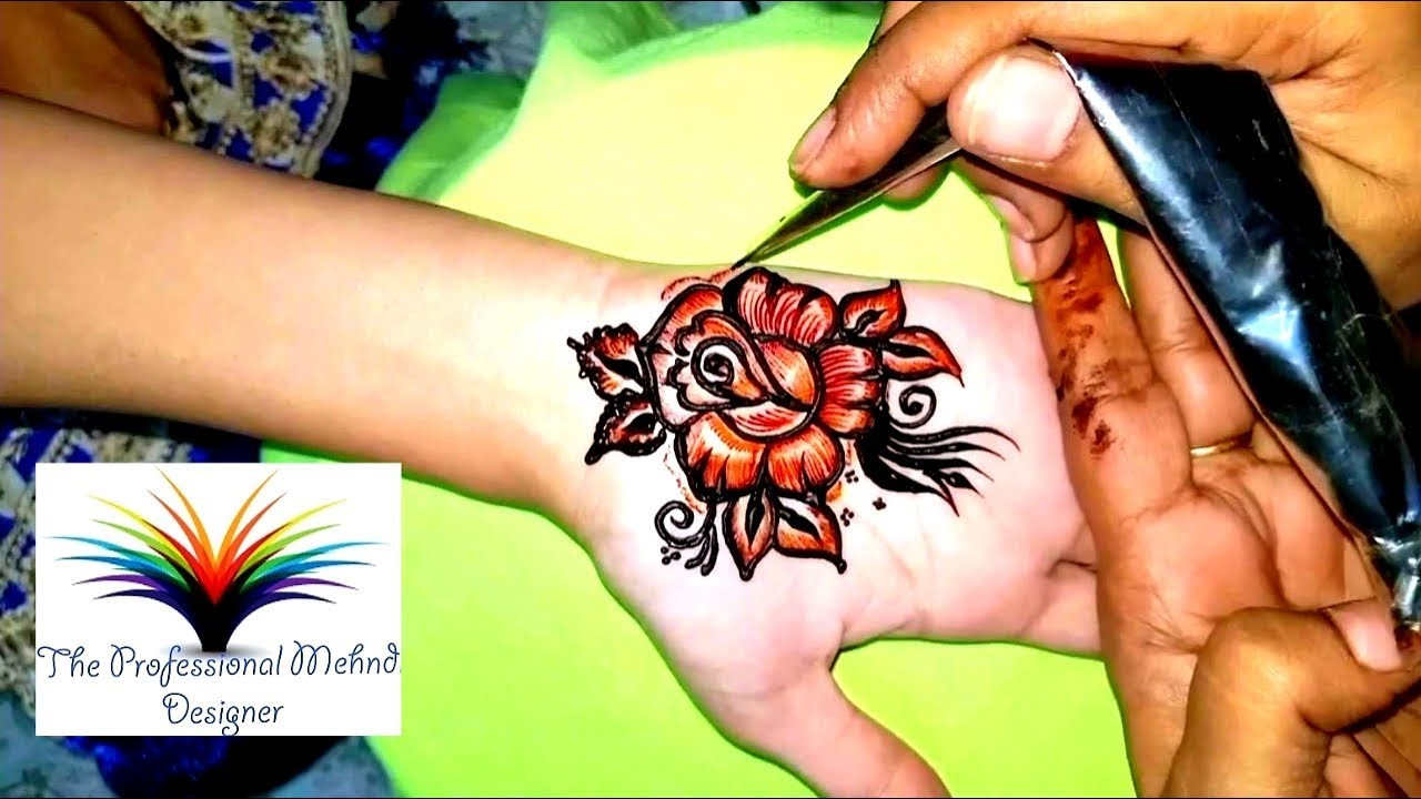 3d Rose Flower Cone Mehndi Design Video Hand Mehndi Design Red