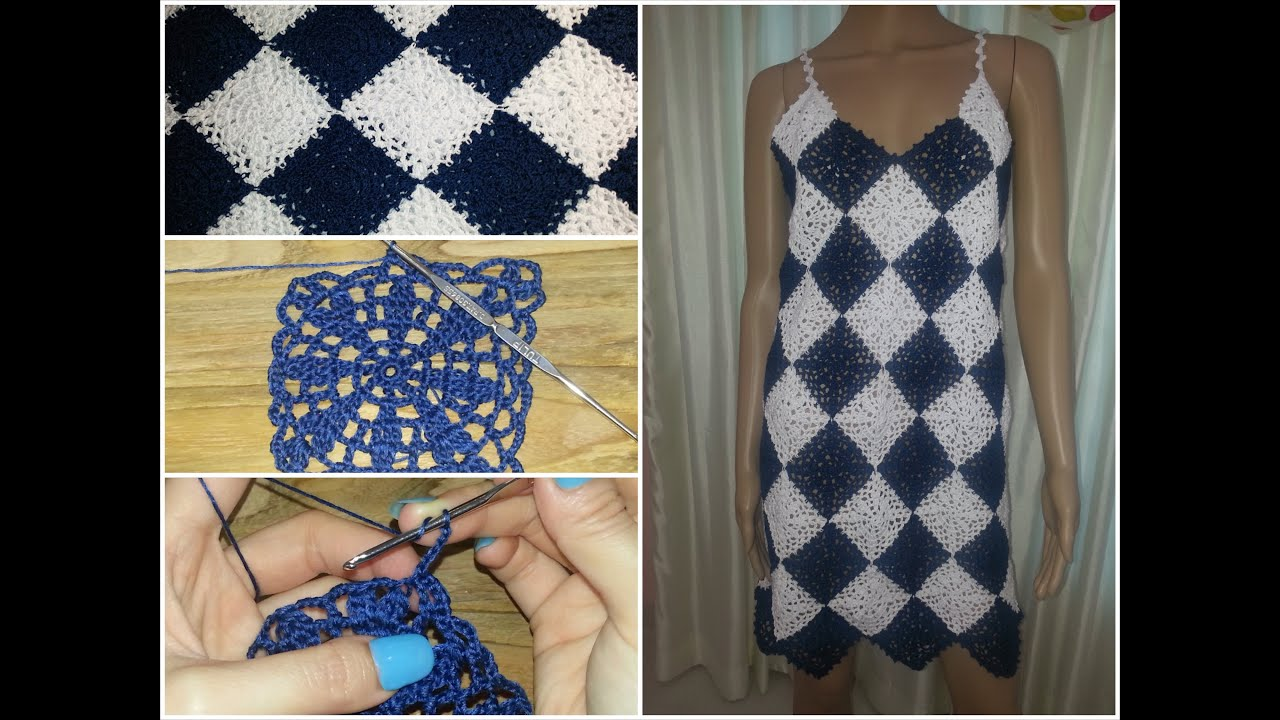 Crochet Granny Square Dress Patterns : Crochet granny square dress tutorial part 1 of 3 (Granny ...