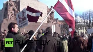 Video Latvia: Waffen SS Nazi allies march through centre of Riga download MP3, 3GP, MP4, WEBM, AVI, FLV November 2018
