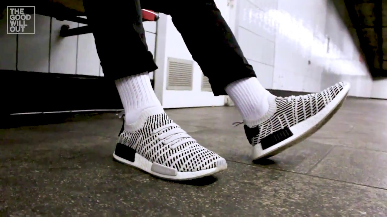 e591e01d3d96f adidas Originals NMD R1 PK Primeknit Boost STLT  Stealth Pack  at The Good  Will Out (on feet)