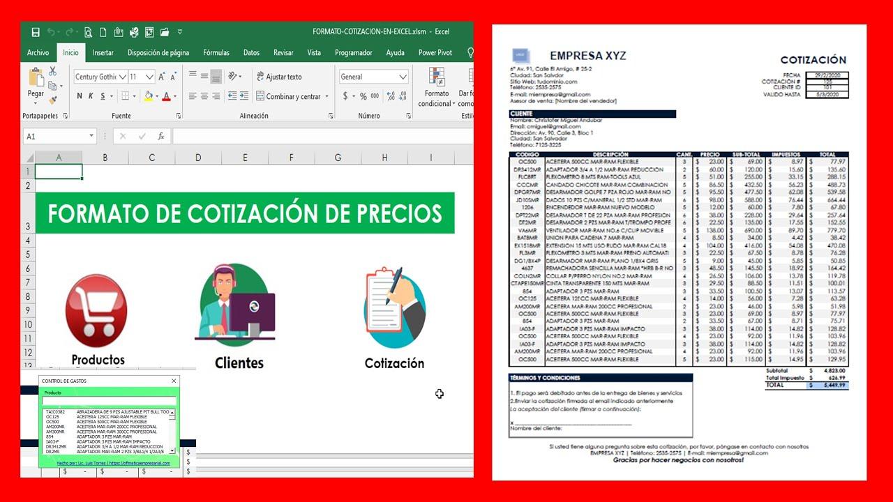 Formato De Cotizacion En Excel Para Descargar Gratis Formato De Cotizacion Automatizado Excel Youtube Formato para cotizar en excel