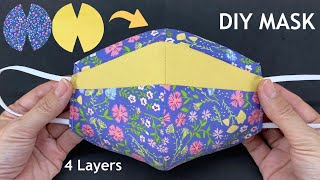 New Style Diy Breathable Fabric Face Mask How to 4 Layers Mask 2 Tone Sewing Tutorial At Home