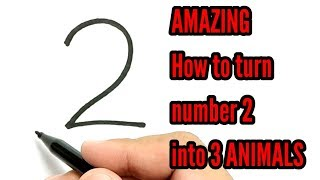 It's EASY, How to turn number 2 into 3 animal / how to draw animal easy. thumbnail