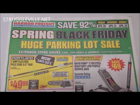 Harbor Freight Parking Lot Sale Ad - Spring Black Friday!