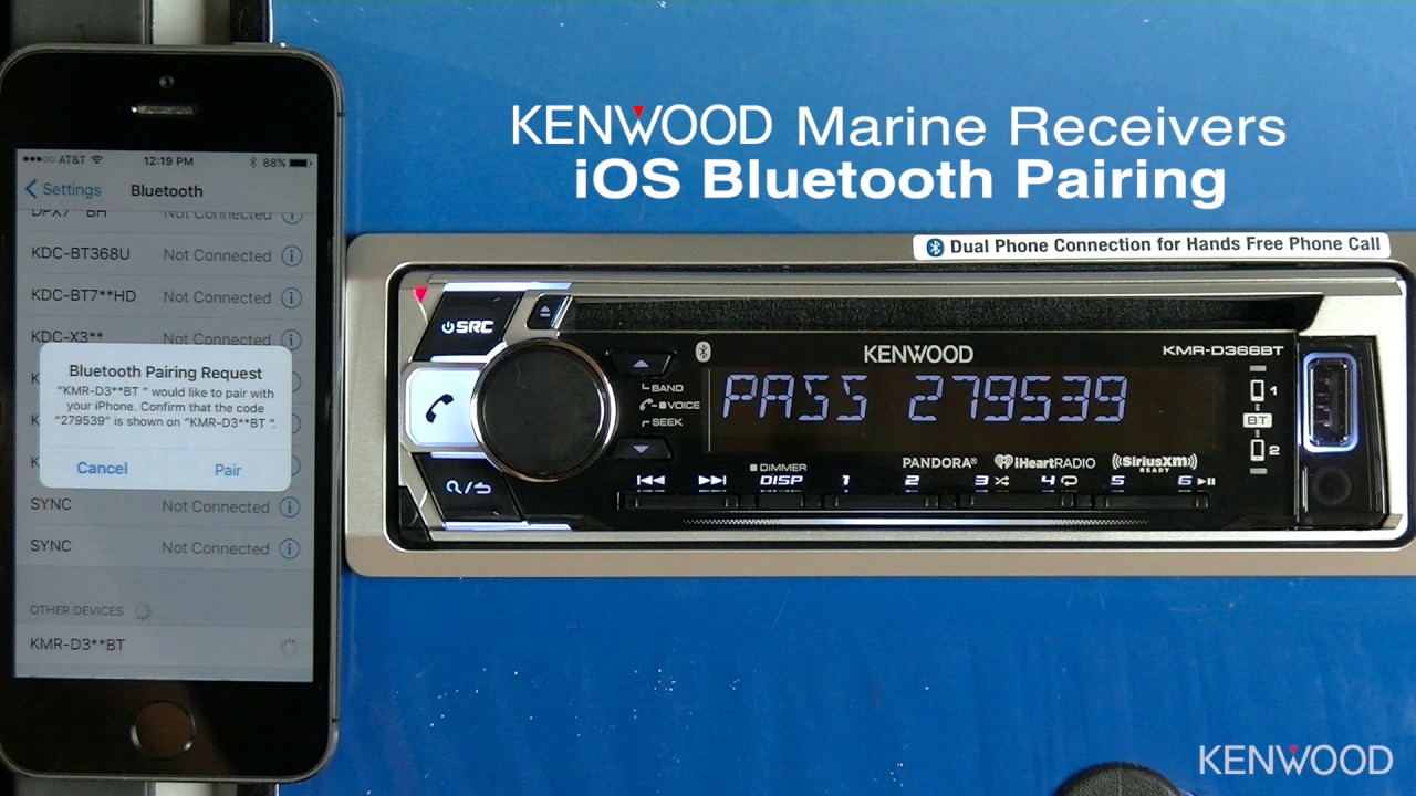 kenwood ios bluetooth pairing for 2017 marine receivers kmr d368bt rh youtube com Kenwood eXcelon Manual Kenwood KDC X895