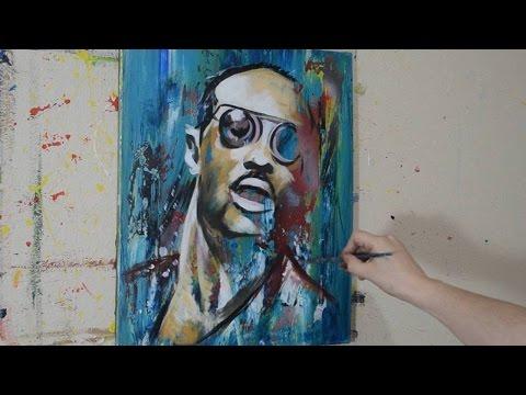 Painting a Portrait of Stevie Wonder