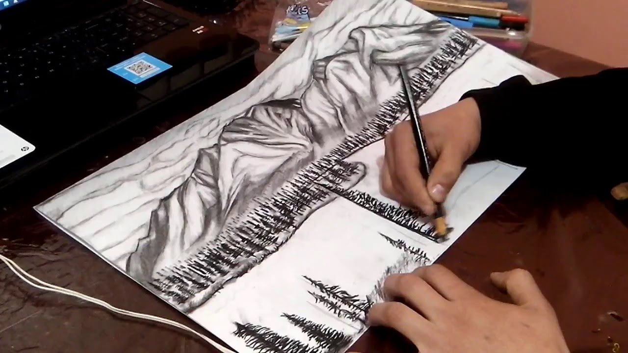 how to draw a pine tree landscape by pencil step by step youtube
