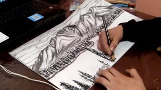 How to draw a pine tree landscape by pencil step by step