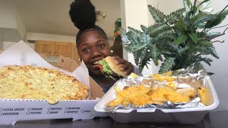 Double cheese burger, Cheese Fries, Mozzarella garlic pizza MUKBANG |vickey cathey|