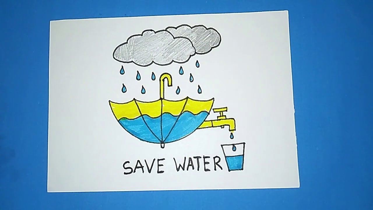 How To Draw Save Water Creative Drawing Youtube