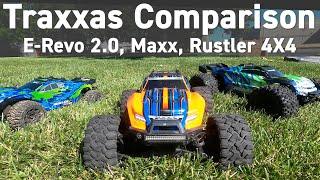 Maxx vs E-Revo 2.0 vs Rustler 4X4 VXL - Traxxas Comparison