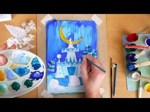 2 клас. Мистецтво. Малюємо палац Снігової королеви відтінками білого та синього кольору