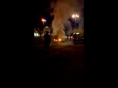 Пожар на парковке гипермаркета Глобус г.Климовск.