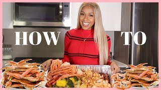 HOW TO COOK A SEAFOOD BOIL STEP BY STEP! CRAB LEGS, SHRIMP, SALMON!