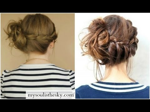 Braid Into Messy Bun Inspired By Pinterest Pic Youtube