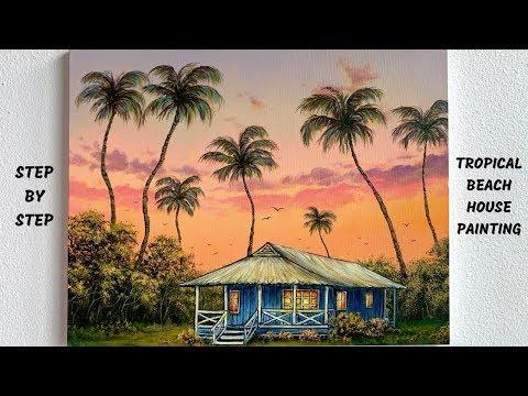 Tropical Beach House STEP by STEP Acrylic Painting (ColorByFeliks)