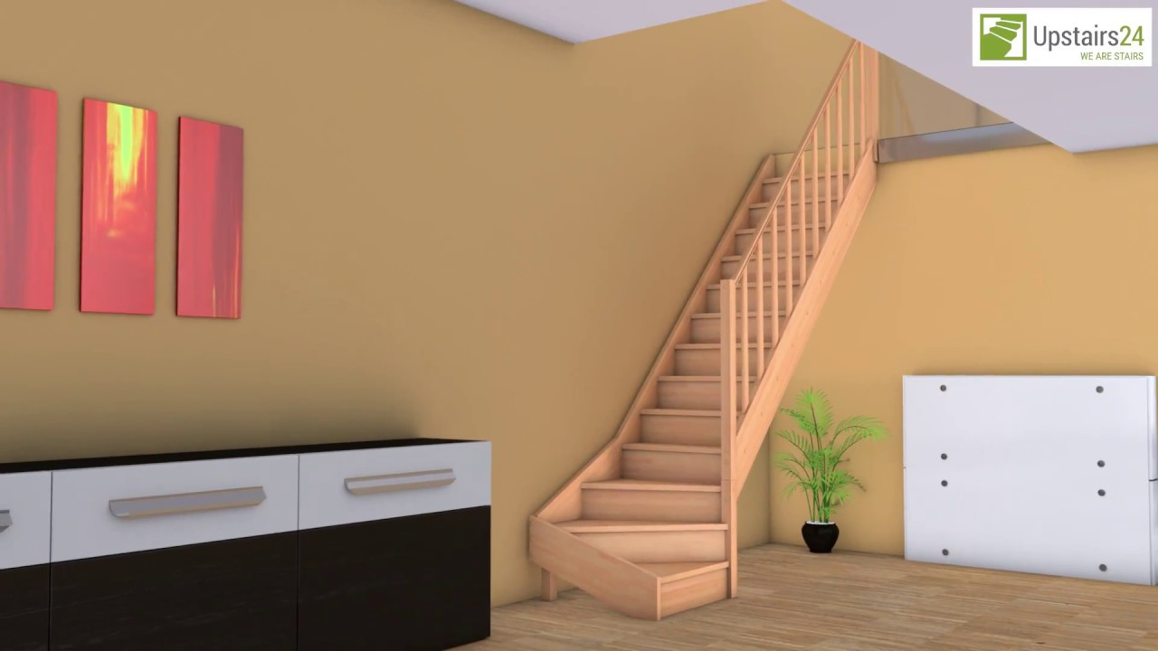 escalier en bois massif en kit casablanca 1 4 tournant contremarches et rampe upstairs24. Black Bedroom Furniture Sets. Home Design Ideas