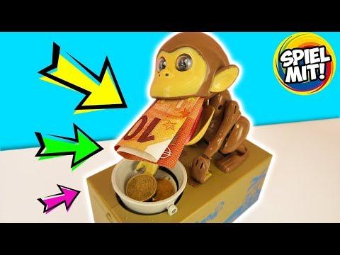 DIESER AFFE KLAUT MEIN GELD! Monkey Money Bank Deutsch - Elektronische Spardose für Münzen + Scheine