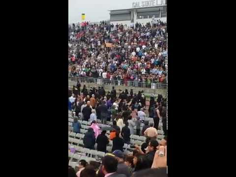 2015 Cal State LA graduation ceremony on 06/13/15 - Grads enter the graduation ceremony area
