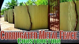 Corrugated Metal Privacy Fence Construction