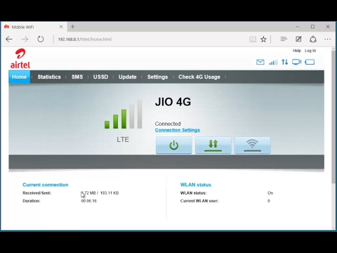 Huawei E3372 Webpage Hi Link Preview Jio 4g Connected Youtube