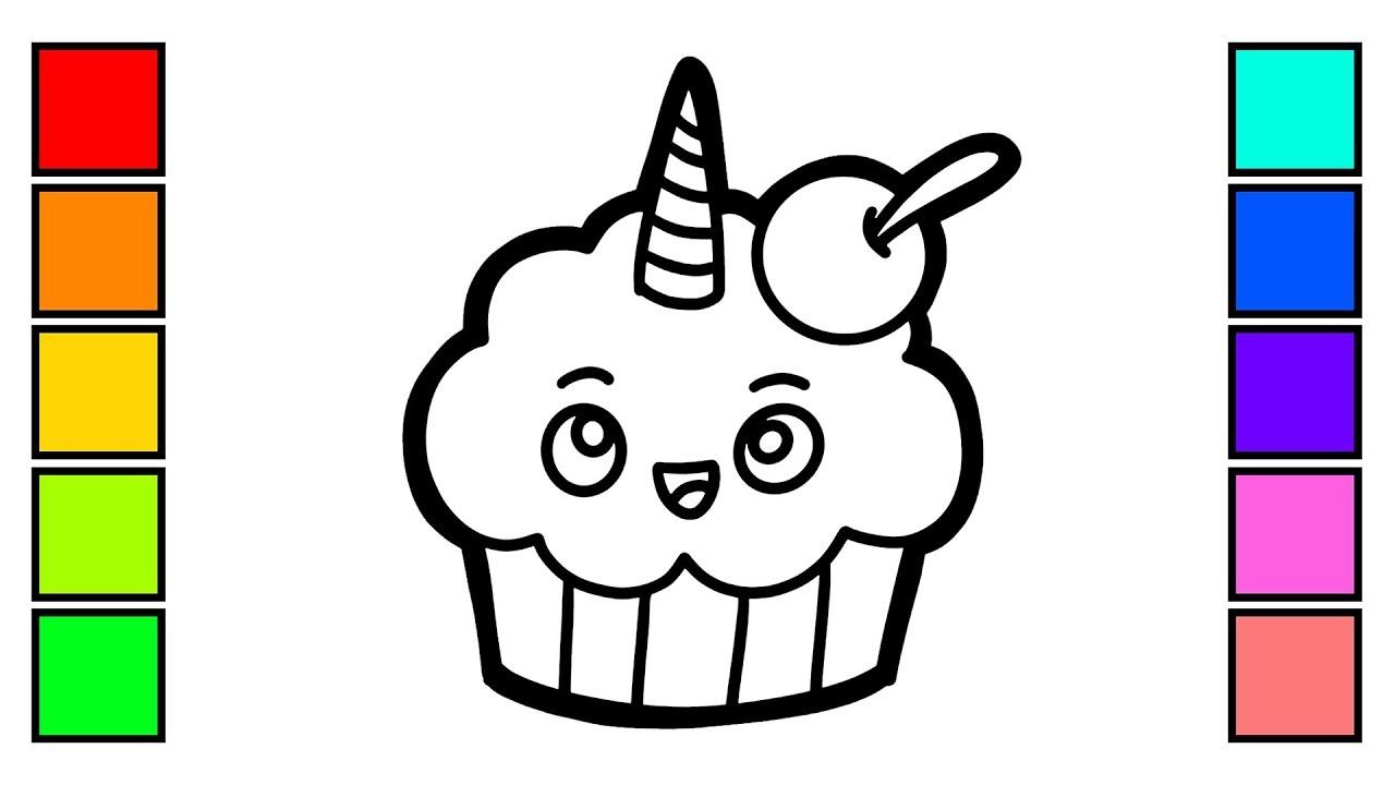Cara Menggambar Dan Mewarnai Bolu Cantik How To Draw Cupcake Coloring Pages