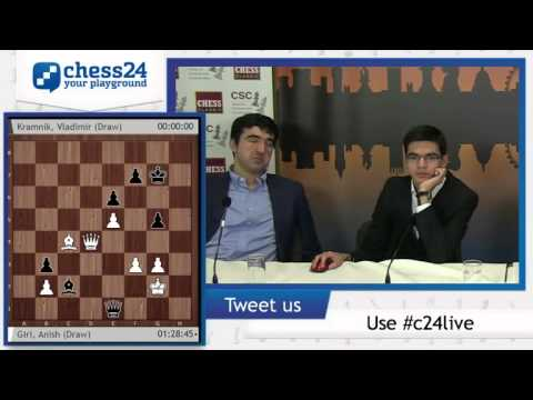 Fun interview, Kramnik and Giri analyse their game - Post Conference - London Chess Classic 2014
