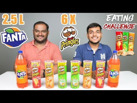 PRINGLES WITH FANTA EATING CHALLENGE | Pringles Potato Chips Eating Competition | Food Challenge