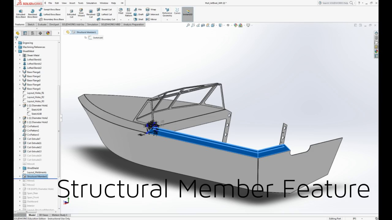 How To Design A Jet Boat In Solidworks Using Sheetmetal